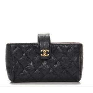 Authentic Chanel Caviar Quilted Mini Phone Holder